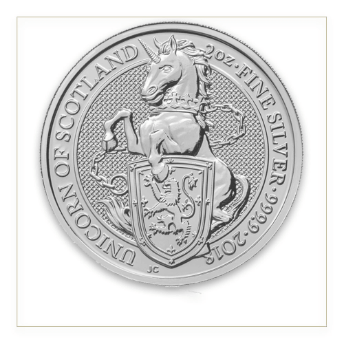 2018 2oz Silver Britain Queen's Beast: The Unicorn