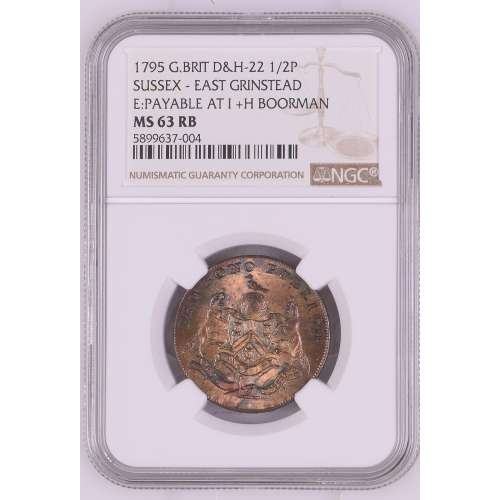 1795 SUSSEX - EAST GRINSTEAD E:PAYABLE AT I +H BOORMAN RB Condor Token NS NGC MS-63