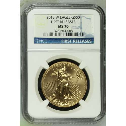 2013 BURNISHED GOLD EAGLE FIRST RELEASES W NGC MS-70