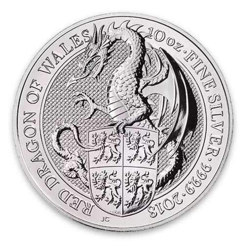 2018 10oz Britain Silver Queen's Beast : The Dragon of Wales