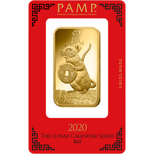 100g PAMP Gold Bar - Lunar Rat