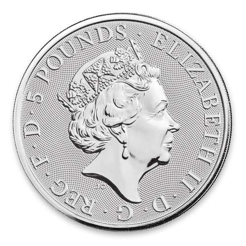 2020 2oz Silver Britain Queen's Beast: The White Lion of Mortimer