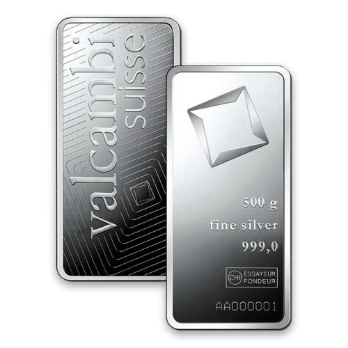 500g Valcambi Minted Silver Bar