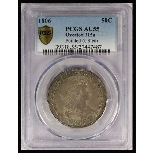 1806 Pointed 6, Stem  Overton 115a  PCGS AU-55